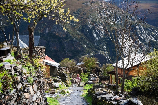 This is Matavenero, a mountain eco-village in Northern Spain. Originated by miners in the sixties, but had since abandoned the site. It was rebuilt and resettled in 1989.