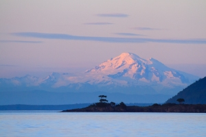 Sunset on Mount Baker, Washington photographed from Sidney, British Columbia.